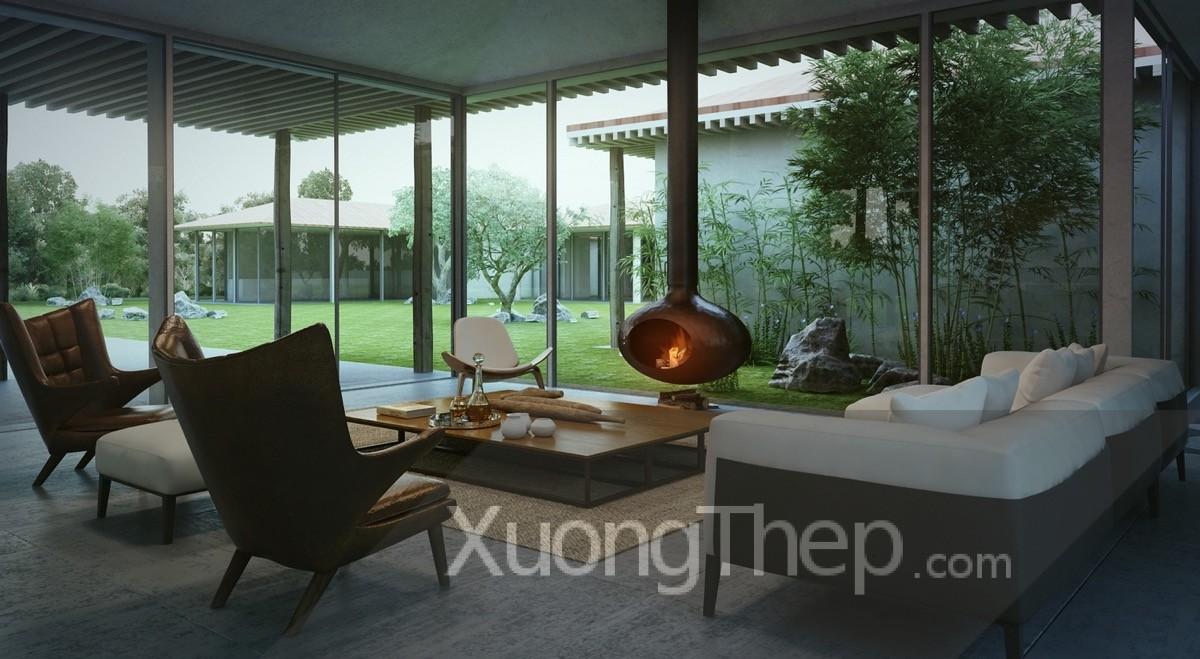 Mẫu cửa kính đẹp và sang trọng cho không gian phòng khách